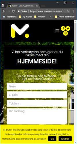 Illustrasjon av en mobiltilpasset hjemmeside