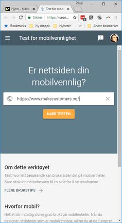 Bilde av test siden til Google for å se om hjemmesiden din er mobiltilpasset.